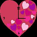 Pink Love Heart Clock Widget icon