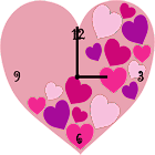 Pink Love Heart Clock Widget icon