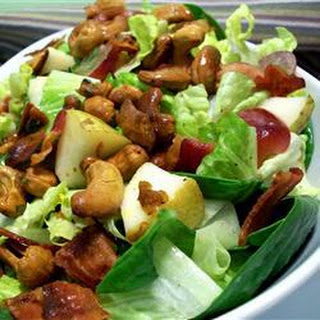 Bacon, Pear And Grape Salad With Curried Cashews.