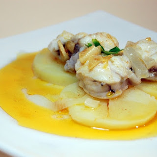 Monkfish Stew with Potatoes and a Paprika Garlic Saute.