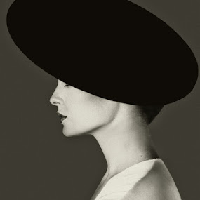 The Black Hat by Bill Morris - Black & White Portraits & People ( model, black and white, side view, hat, profile )