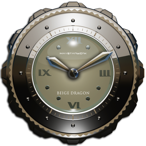 Dragon Clock widget beige