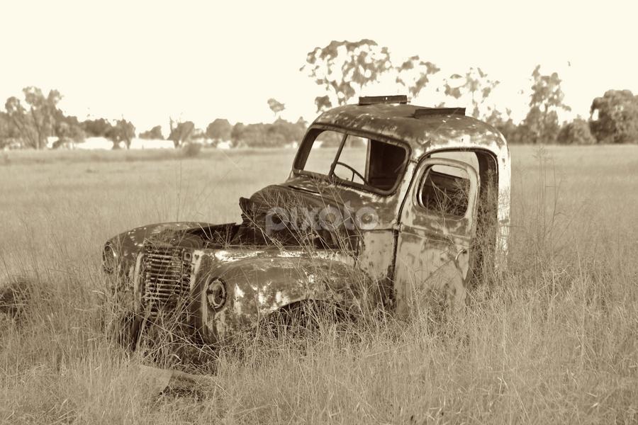 Rusty old car by Neil H - Transportation Automobiles ( car wreck, car in field, old car, vintage car, rusty car, rusty old car, car from years gone by, neglected car,  )