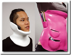 Cool neck brace let's you answer your phone even when you ...