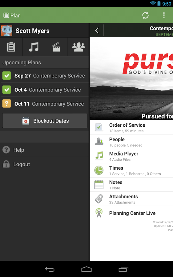 Planning Center Services - screenshot