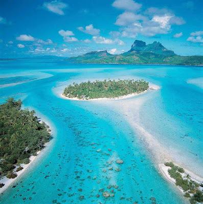 Seeing Bora Bora by air allows views of Mount Pahia and Mount Otemanu.