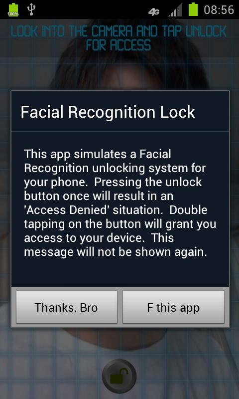 Facial Recognition Lock - screenshot