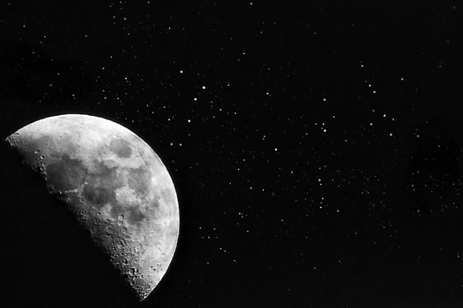 My Backyard Moon by Joffre Arteaga - Landscapes Starscapes ( moon, black and white, space,  )