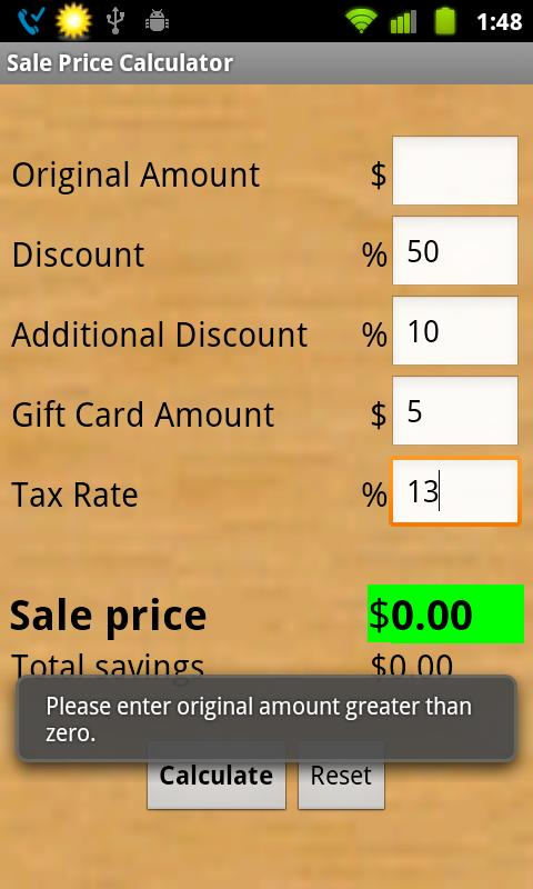 Sale Price Calculator- screenshot