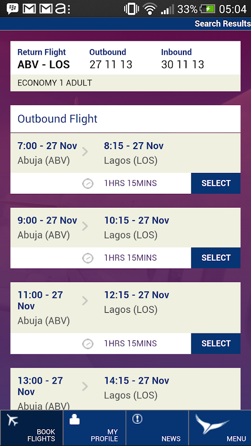 Arik Air- screenshot
