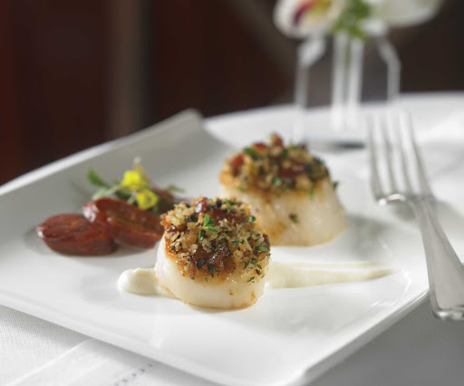 Royal-Caribbean-dining-sea-scallops-chorizo - Pan Seared Sea Scallops and Chorizo, available from the kitchen of your Royal Caribbean ship.