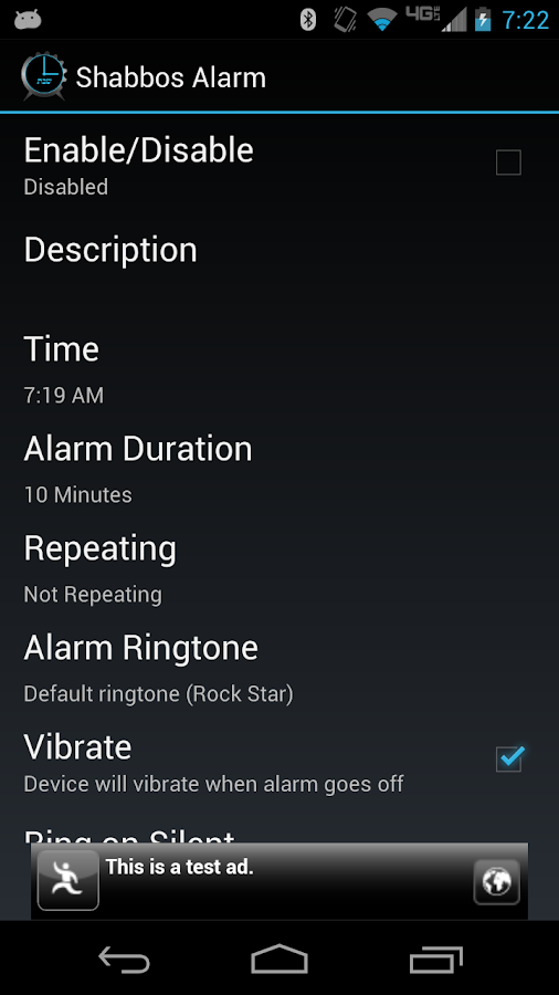 Shabbos Alarm - screenshot