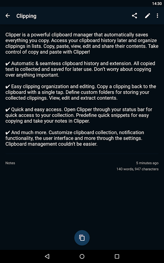 Clipper - Clipboard Manager - screenshot