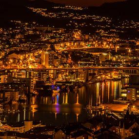 The Puddefjordbridge by night by Elin Laxdal - City,  Street & Park  Night (  )