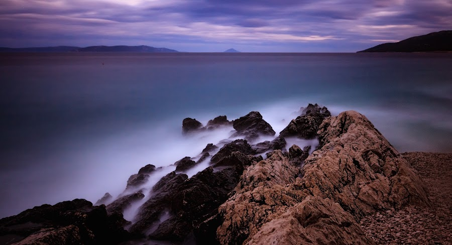 Twilight tranquility by Florin Ihora - Landscapes Waterscapes ( twilight, sea, long exposure, seascape, rocks,  )
