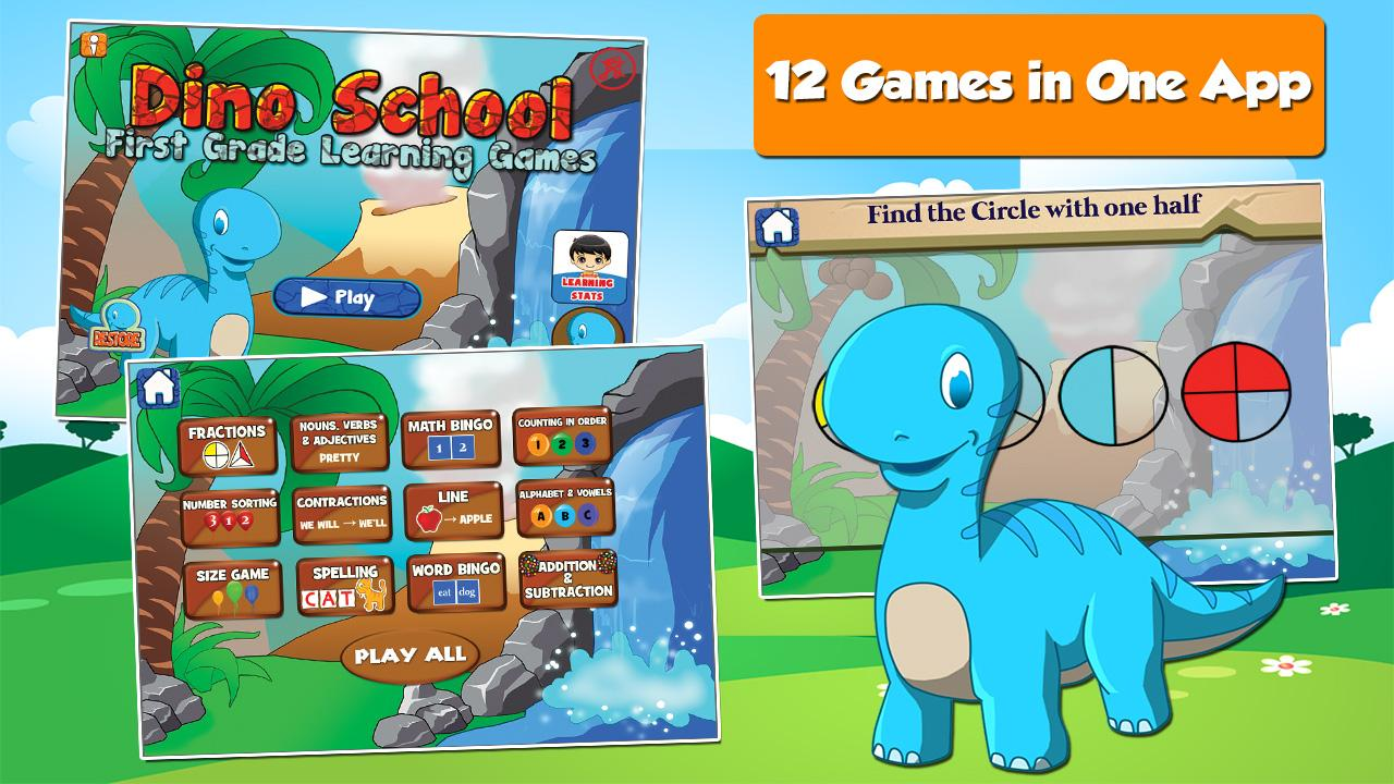 Dino 1st Grade Learning Games- screenshot