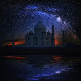 Taj Mahal Temple night, Agra, with Milky Way by Naďa Murmakova - Digital Art Things ( taj, marble, mausoleum, travel, architecture, heritage, milky way, religion, hindu, sky, wonder, white, tourism, unesco, destination, temple, holiday, uttar, landmark, tourist, shrine, vacation, islam, mahal, taj mahal, symmetry, palace, culture, famous, tomb, dome, beauty, landscape, pradesh, asia, india, monument, evening, mughal, building, minaret, beautiful, indian, tower, blue, jahan, agra, night, world, river,  )