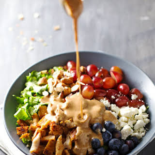 Rainbow Chicken Salad with Almond Honey Mustard Dressing.