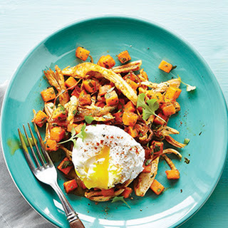 Chicken Sweet Potato Hash with Poached Eggs.