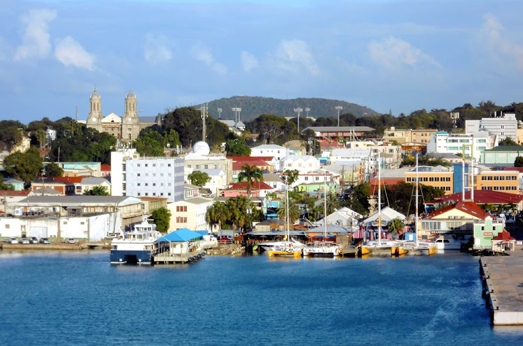 St. John's, the port and main city of Antigua, taken from a cruise ship.