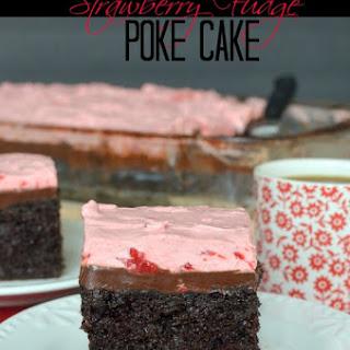 Strawberry Fudge Poke Cake.