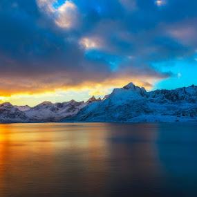 Lofoten glow by Ennio Pozzetti - Landscapes Waterscapes ( sunset, sea, glow, torsfjorden, lofoten, norway )