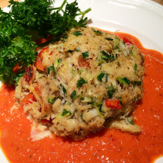 Zucchini Crab Cakes with Red Pepper Sauce.