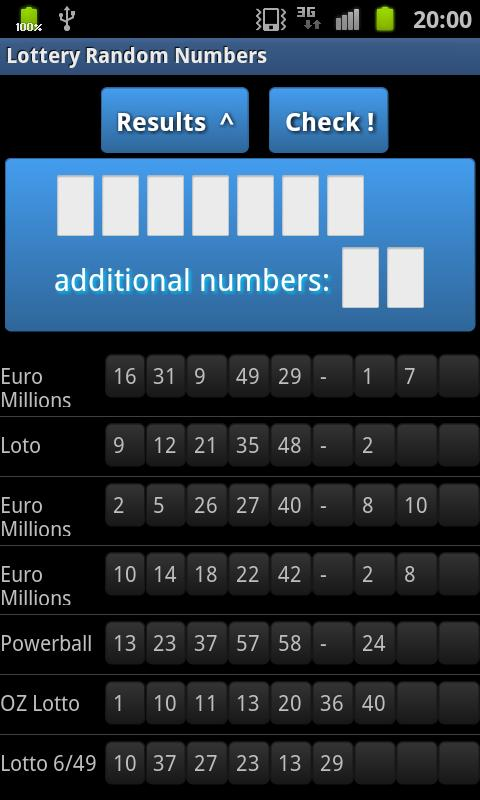 Lottery Random Numbers - screenshot