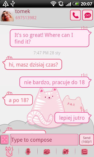 GO SMS Pro Pink Kitty Theme