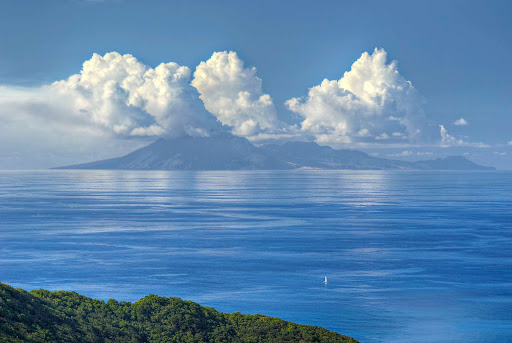 view-of-montserrat-guadeloupe - View of the island of Montserrat from Guadeloupe.