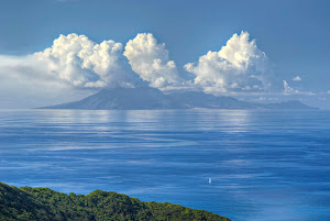 View of the island of Montserrat from Guadeloupe.