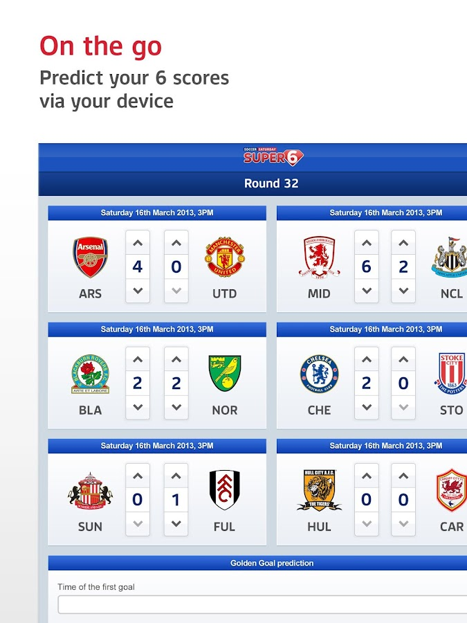 Soccer Saturday Super 6 - screenshot