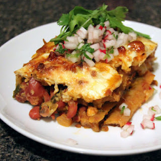 Pastelón (Sweet Plantain 'Lasagna') with Radish Salsa