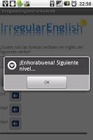 Screenshot of Verbos irregulares inglés