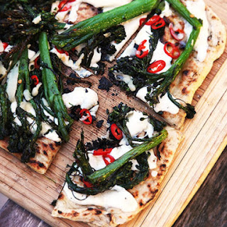 Grilled Pizza With Grilled Broccolini, Chilies, and Garlic