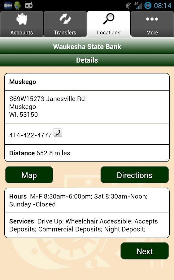 Waukesha State Bank Mobile - screenshot