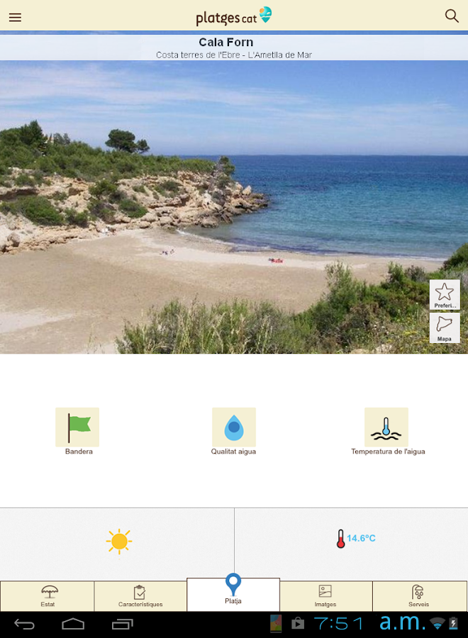 PlatgesCat (Playas Cataluña): captura de pantalla