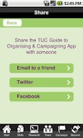 Screenshot of TUC Organising & Campaigning