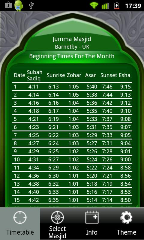 Masjid Timetable - screenshot