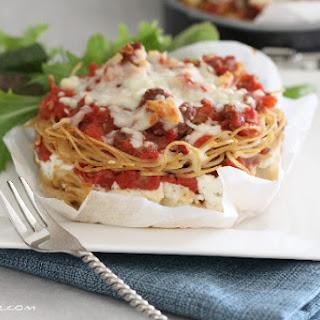 Tomato Basil and Romano Ricotta Spaghetti Pies