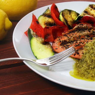 Salmon with Lemon Pesto and grilled veggies