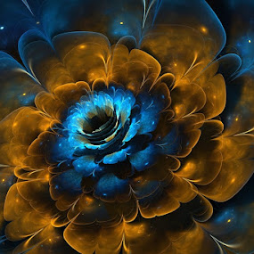 Floral Nebula by Christopher Payne - Illustration Flowers & Nature ( nebula, blue, stars, yellow, gold, space, flower, floral )