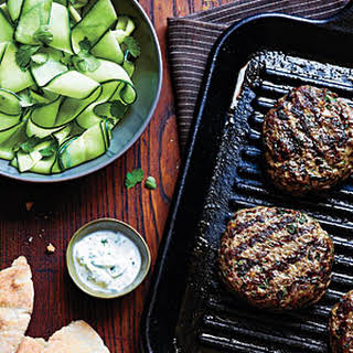 Beef Kefta Patties with Cucumber Salad.