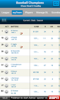 Screenshot of ESPN Fantasy Baseball
