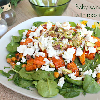 Baby Spinach Salad With Roasted Carrots.