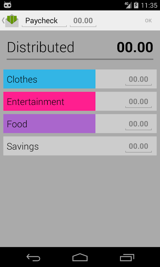 Budget with envelopes- screenshot