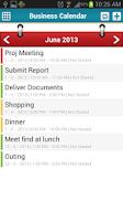 Screenshot of Business Calendar Event TODO