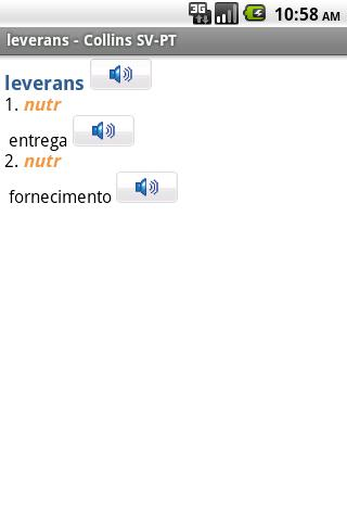 Swedish-Portuguese Dictionary - screenshot