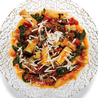 Rigatoni with Spicy Sausage-Tomato Sauce, Arugula, and Parmesan