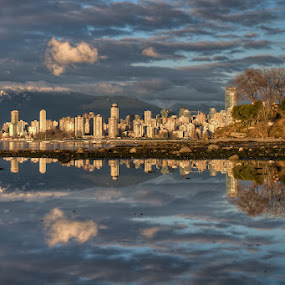 Low Tide Reflection by James Wheeler - City,  Street & Park  Vistas ( nobody, skyline, skyscrapers, travel, cityscape, architecture, city, march, james wheeler, sky, buildings, 2011, inlet, british columbia, canada, kitsilano, pacific, tourism, dusk, low tide reflection, urban scene, trees, scene, view, built structure, waterfront, waterway, reflection, pictures, ocean, coastline, landscape, apartments, vancouver, photography, modern, mountains, skyscraper, city and architecture, nikon, downtown, clouds, water, hdr, scenics, sea, d5000, scenic, high dynamic range, photo, urban, sunset, landscapes )